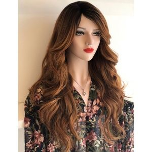 "30"" Side Part Auburn Brown Wavy Wig 